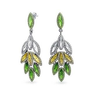 Bling Jewelry Gunmetal Plated Brass Pave Crystal Leaf Chandelier Earrings