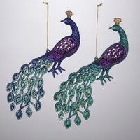 Pack of 24 Regal Peacock Blue and Purple Glittered Bird Christmas Ornaments 8""