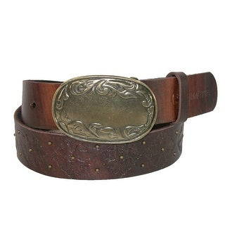 John Deere Women's Distressed Belt with Antiqued Floral Buckle - Tan