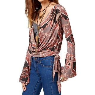 Free People Womens Fiona's Wrap Peasant Top Printed Side Tie