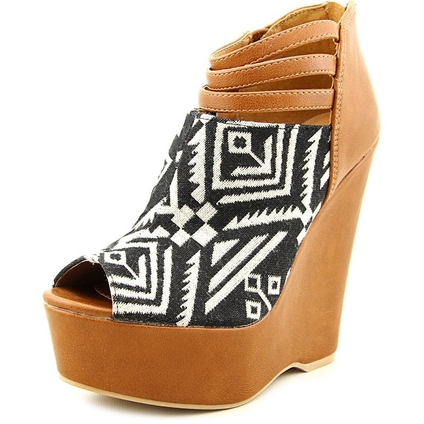 Famous Name Brand Tribe Women Open Toe Canvas Brown Wedge Heel