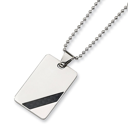 Chisel Black Carbon Fiber and Stainless Steel Dogtag with 24 Inch Chain (2 mm) - 24 in