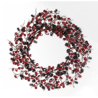"24"" Artificial Red Berry and Pine Cone Snow Flocked Christmas Wreath- Unlit"