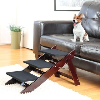 2 in 1 Wood Pet Steps and Ramp - Convertible Folding Collapsible