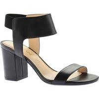 Nine West Women's Greene9X9 Block Heel Ankle Strap Sandal Black Leather