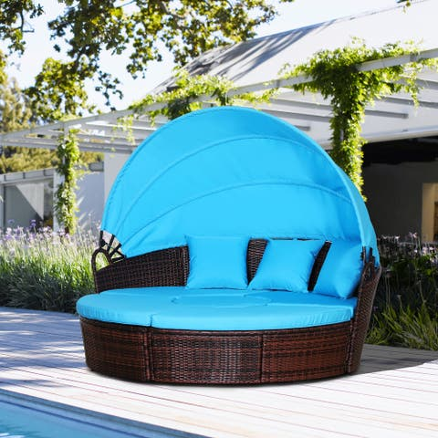 Outsunny 5-piece Cushioned Outdoor Rattan Wicker Round Sunbed or Conversational Sofa Set with Sun Canopy