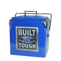 "Officially Licensed ""Built Ford Tough"" Blue Stainless Steel 13 Liter Cooler"