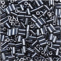 Toho Bugle Tube Beads Size 1 / 2x3mm Metallic Hematite 8 Grams