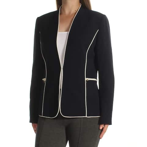 TAHARI Womens Navy Long Sleeve Open Cardigan Top Size 8