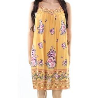Tassels N Lace NEW Yellow Womens Size Medium M Floral-Print Shift Dress