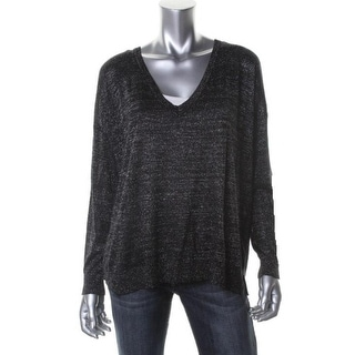 Joie Womens Calee Metallic Knit V-Neck Sweater - S