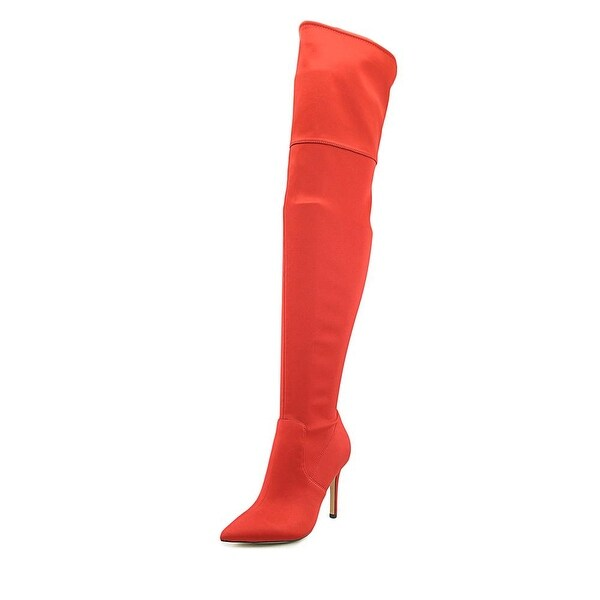 Aldo Fraresa Women Pointed Toe Canvas Red Over the Knee Boot