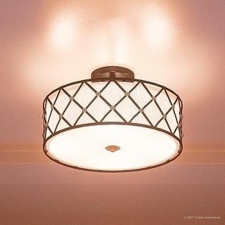 "Luxury Art Deco Semi-Flush Ceiling Light, 11""H x 17""W, with Moroccan Style, Gold Studded Design, Aged Copper Finish"