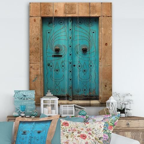 Designart 'Vintage Arabic Blue Door' Vintage Print on Natural Pine Wood