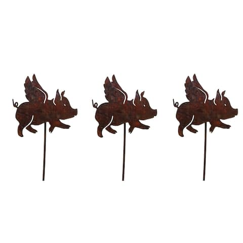 California Home and Garden Set of 3 Metal Flying Pig Picks for Plants, 20 Inch Tall, Rustic Look Artwork