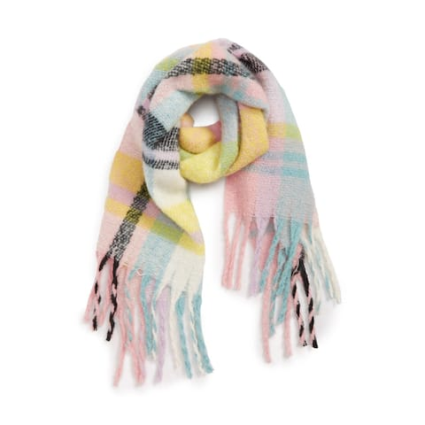 David & Young Pink Blue Women's One Size Fringe-Trim Plaid Scarf