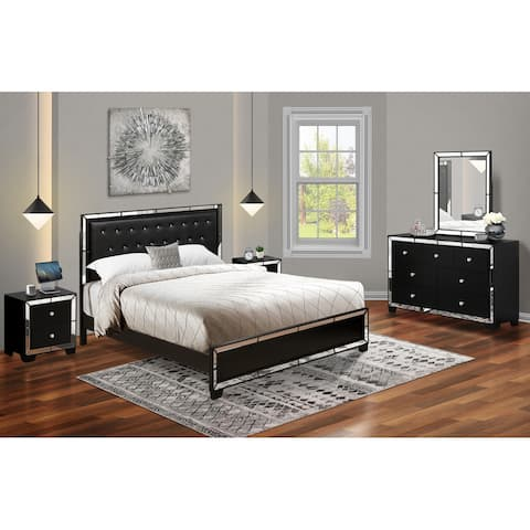 Modern 5-Pieces King Bedroom Set with Light Up headboard-Bed, Dresser, Mirror, and 2 Nightstands - Black Faux Leather Headboard