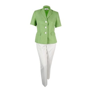 Le Suit Women's Colorblocked Three-Button Tweed Pantsuit - peridot/vanilla