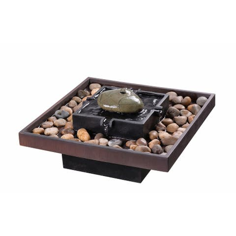 """Chi 9"""" Indoor and Outdoor Table Fountain - Two Toned Bronze - 16"""" x 9"""" - 16"""" x 9"""""""