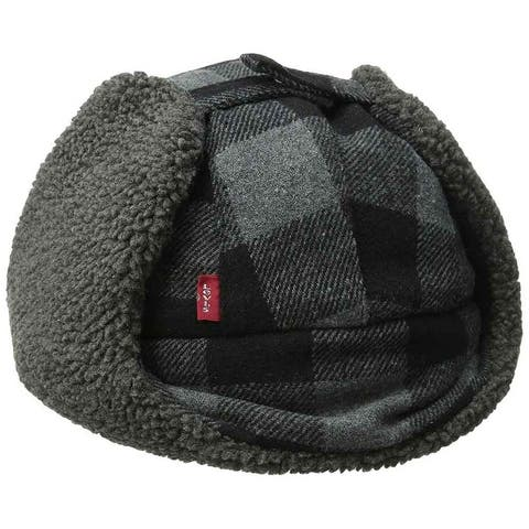 Levi's Men Buffalo Plaid Trapper Hat Black Gray - Small/ Medium