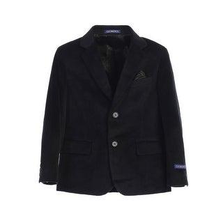 Boys Black 2 Button Formal Velvet Blazer