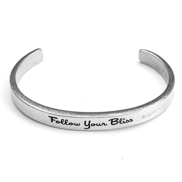 Women's Note To Self Inspirational Lead-Free Pewter Cuff Bracelet - Follow Your Bliss