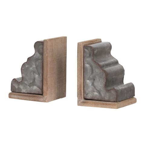 """Set of 2 Brown and Gray Vintage Style Framed Geode Bookends 5.75"""""""