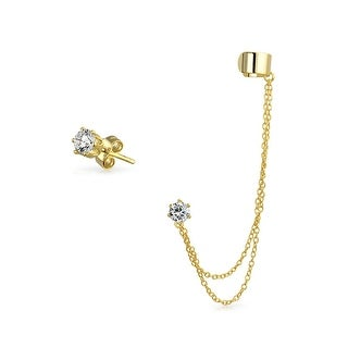 Bling Jewelry Gold Plated 925 Silver Double Chain CZ Linked Ear Cuff Set
