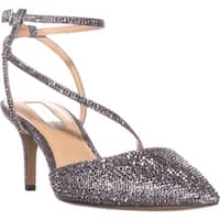 I35 Lenii2 Strappy Rhinestone Evening Sandals, Pewter