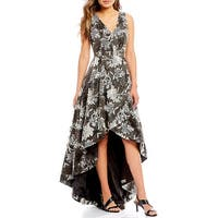 Calvin Klein Embroidered Floral Hi-Low Gown, Black/White, 12