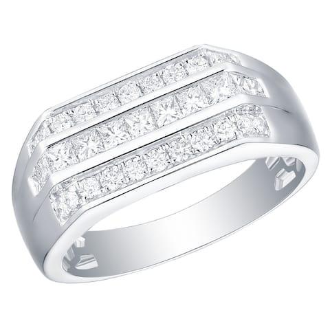 Prism Jewel 0.93Ct Round & Princess G-H/I1 Natural Diamond Men's Anniversary Ring