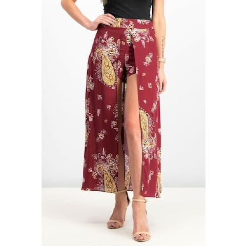 Material Girl Women's Shorts Skirt Zinfandel Paisley Size Extra Small - Red - X-Small