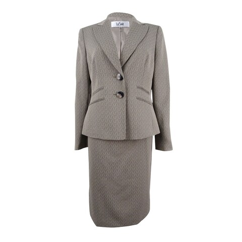 Le Suit Women's Melange Two-Button Skirt Suit - taupe multi