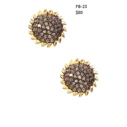 Genuine Pave Diamond and Sterling Silver Gold Plated Sunburst Stud Earrings
