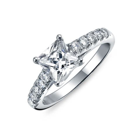 Simple 1.5 CT Princess Cut Cubic Zirconia Solitaire Square 925 Sterling Silver Pave Band AAA CZ Promise Engagement Ring