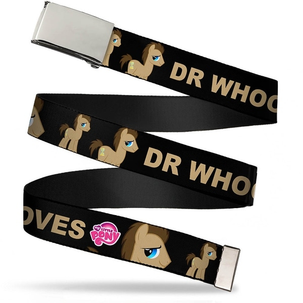 Blank Chrome Buckle Dr. Whooves Profile Pose Bows Black Browns Red Web Belt