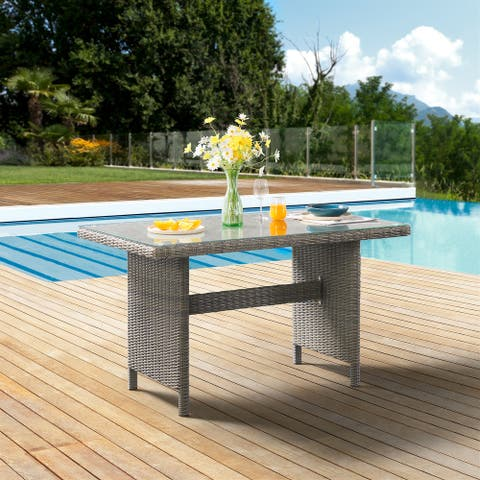 """Asti All-Weather Wicker Outdoor 30""""H Dining Table with Glass Top"""