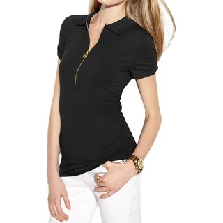 MICHAEL Michael Kors Womens Polo Top Zip Front Ruched