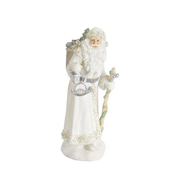 "Pack of 2 Alpine White Polyresin Santa Clauses with Lantern and Horn 15.5""H"