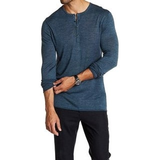 Toscano NEW Blue Forest Night Mens Size XL Henley Wool Blends Sweater