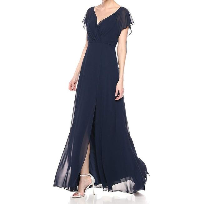Jenny Yoo Womens Blue Size 4 Alanna Open Back Flutter Chiffon Gown