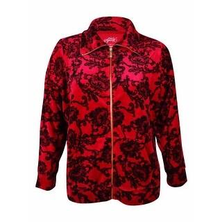 Style & Co. Women's Damask Lace Print Velour Jacket