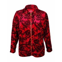 Style & Co. Women's Damask Lace Print Velour Jacket - prussian red