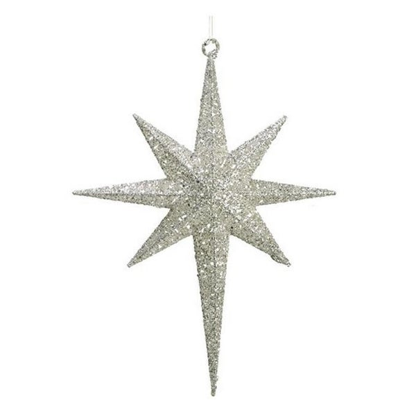 "16.5"" White Glittered Northern Star Christmas Ornament"