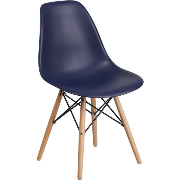 Offex Navy Plastic Accent Side Chair with Wood Base [OFX-456817-FF]