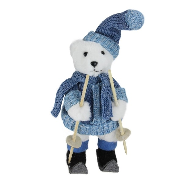 "15"" Skiing White Bear Christmas Table Top Figure Decoration - BLue"