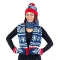 Hat Scarf Mittens Set, Holiday Christmas Winter Pattern, Blue Red White Green Grey - Thumbnail 0