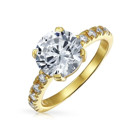 4CT Solitaire CZ Engagement Ring Band Gold Plated Sterling Silver