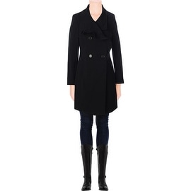 T Tahari Womens Ruffled Double Breasted Coat