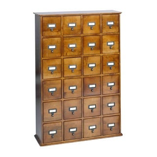 Library Catalog Media Storage Cabinet - 24 Drawer Stores 456 CDs/ DVDs - Walnut